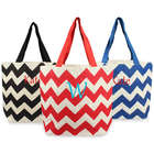 Personalized Chevron Parchment Jute Tote Bag