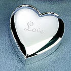 Personalized Silver Heart Mini Puff Lift Top Jewelry Box