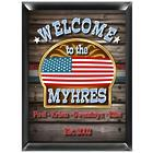 Personalized Traditional US Flag Welcome Sign