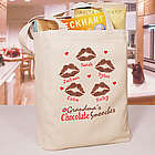 Personalized Chocolate Smooches Canvas Tote