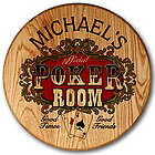 Personalized Poker Room Whiskey Barrel Head Sign