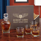 Take Flight Pilotwings Whiskey Glasses and Decanter in Gift Box