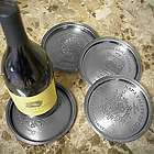 European Vineyard Pewter Wine Bottle Coasters