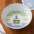 Boy's First Birthday Personalized Baby Bowl