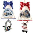 Set of 6 Thomas Kinkade Ringing in the Holidays Ornaments