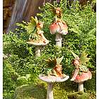 Fairies On Mushrooms Garden Stakes