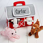 Personalized Plush Barn with 4 Farm Stuffed Animals