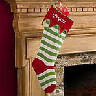 Red Toe and Cuff Personalized Knit Christmas Stocking