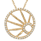 Diamond Circle Pendant in 14K Yellow Gold