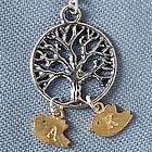 Family Tree Necklace with Initial Bird Charm