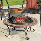 Slate Tile Wood-Burning Round Fire Pit