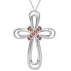 Red Diamond Cross Pendant in 14K White Gold