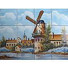 Handpainted Backsplash or Outdoor Windmill Ceramic Tile Mural