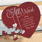 You're All I Need Personalized Heart Puzzle