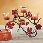 Fall Leaves Candelabra with Yankee Candle Tealight Set