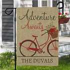 Personalized Adventure Awaits Bicycle Burlap Flag