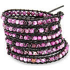 Purple Haze Long Wrap Bracelet on Black Cord
