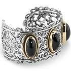 Sterling, Brass, & Black Agate Bold Cuff Bracelet