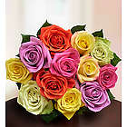 One Dozen Multicolored Roses Bouquet