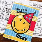 Smiley Face Personalized Kid's Birthday Activity Book and Crayons