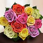 One Dozen Assorted Roses Bouquet