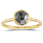 Black Diamond Solitaire Ring in 14K Yellow Gold
