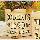 Pine Cone-Styled Personalized Home Address Crock
