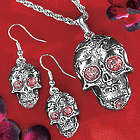 Skull Necklace and Earring Set