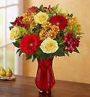 Autumn Joy Bouquet with Red Vase