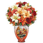 Thomas Kinkade Amber Elegance Always In Bloom Vase Centerpiece