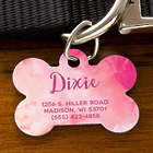 Bone Shaped Personalized Dog Tag in Watercolor Design