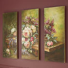 Handpainted Florals On Bench Canvas Triptych Print