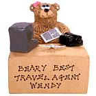 Personalized Travel Agent Teddy Bear at the Office Desk
