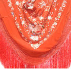 Hand Embroidered Floral Spanish Copper Tone Silk Shawl