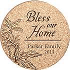 Personalized Bless Our Home Cork Drink Coasters