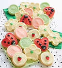Buttercream Frosted Flowers and Lady Bug Cookies