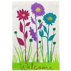 Welcome Flowers Burlap Garden Flag