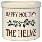 Personalized 2 Gallon Holiday Holly Leaf Crock
