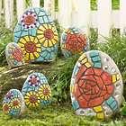 6 Mosaic Flower Stones