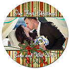Personalized Photo Green and Red Stripe Christmas Ornament