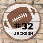 Personalized Round Wood Football Wall Sign