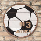 Personalized Round Wood Soccer Wall Sign