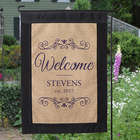Personalized Welcome Burlap Garden Flag