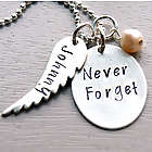 Never Forget Personalized Angel Wing Hand Stamped Necklace