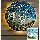Lighted Dandelions & Dragonflies Recycled Oil Drum Lid Wall Art