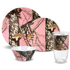 16-Piece Pink Melamine Dinnerware Set in Break Up Infinity Camo