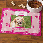 Personalized Throw Me a Bone Pink Dog Bowl Mat