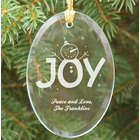 Engraved Christmas Joy Oval Glass Ornament