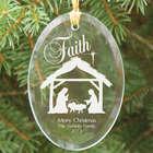 Engraved Nativity Oval Glass Ornament