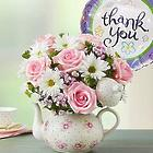Teapot Full of Blooms with Thank You Balloon